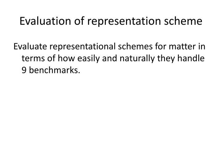 Evaluation of representation scheme