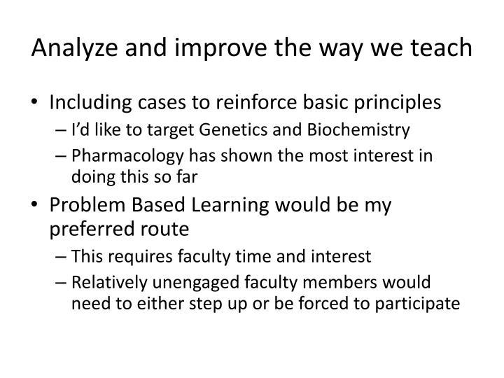 Analyze and improve the way we teach