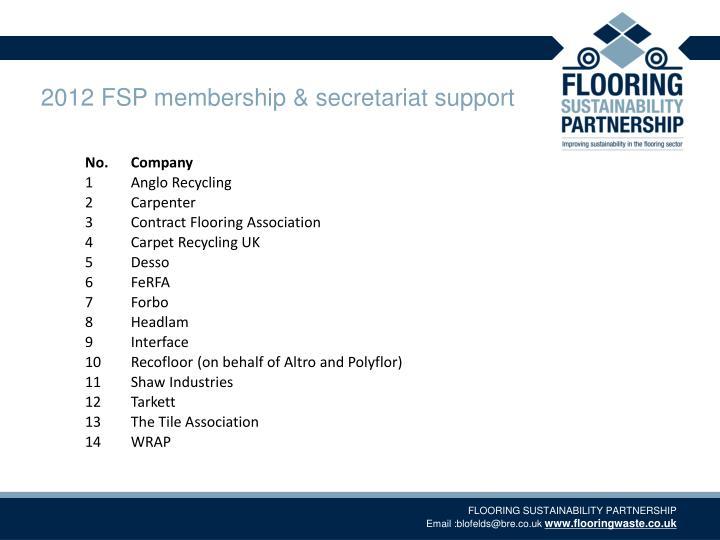 2012 FSP membership & secretariat support