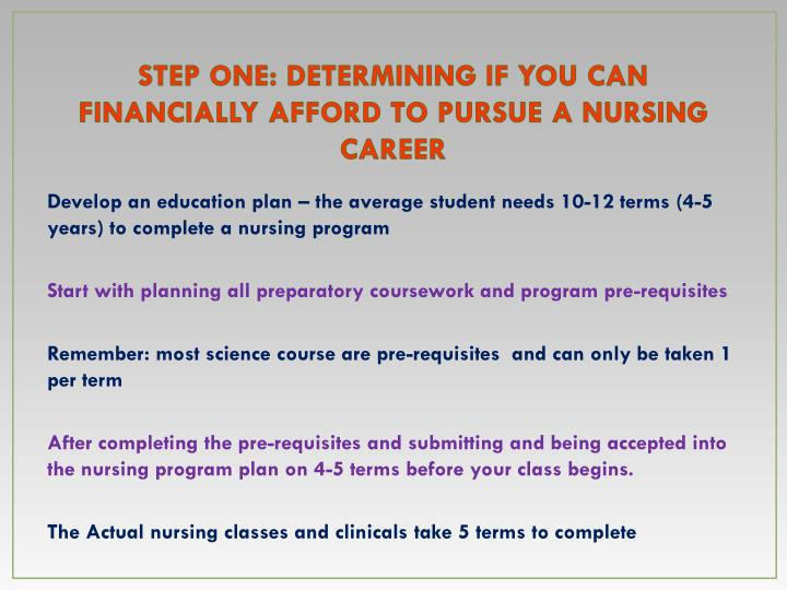 Step one determining if you can financially afford to pursue a nursing career