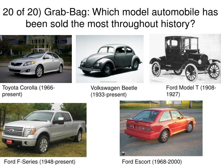 20 of 20) Grab-Bag: Which model automobile has been sold the most throughout history?