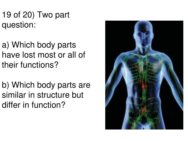 19 of 20) Two part question: