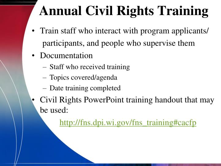ppt - cacfp civil rights recordkeeping requirements powerpoint presentation
