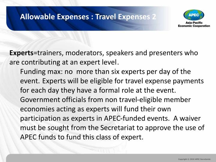 Allowable Expenses : Travel Expenses 2