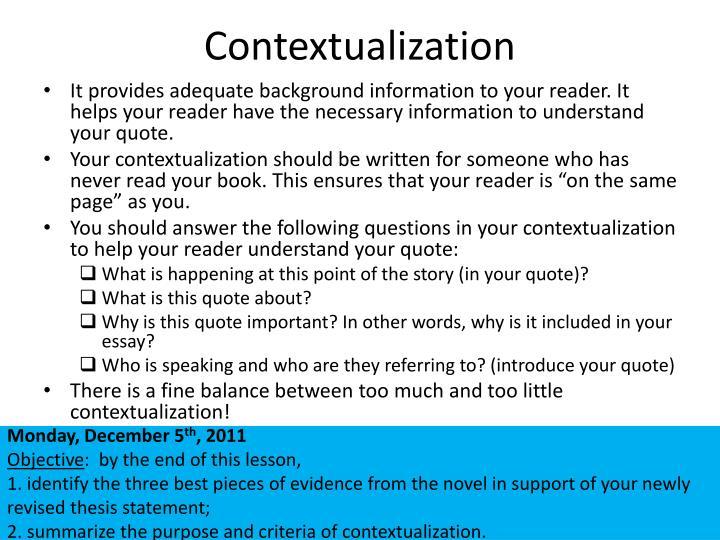 Contextualization