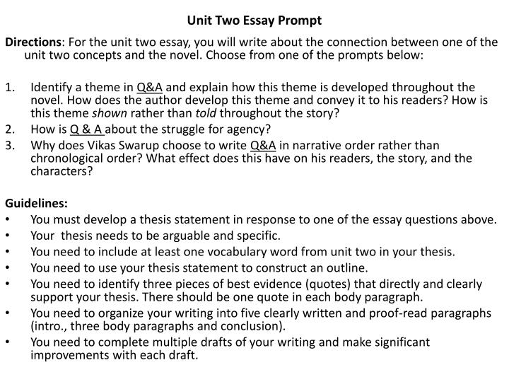 Unit Two Essay Prompt