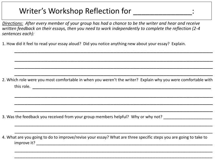 Writer's Workshop Reflection for ______________: