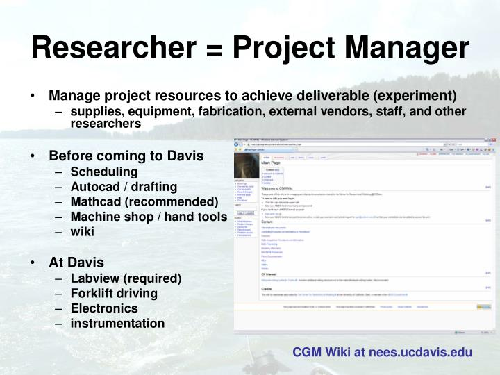 Researcher project manager