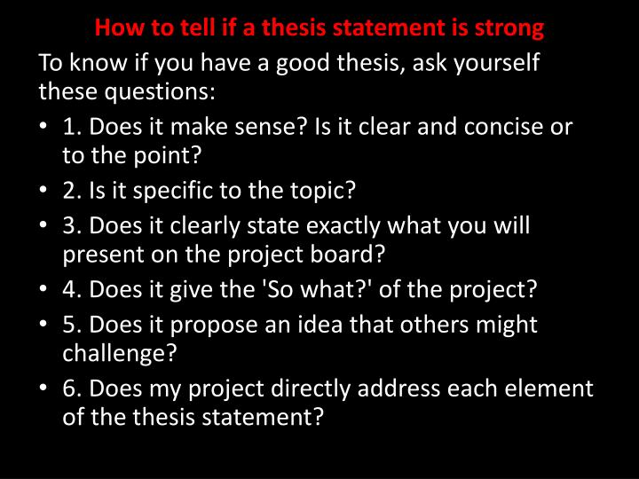 How to tell if a thesis statement is strong