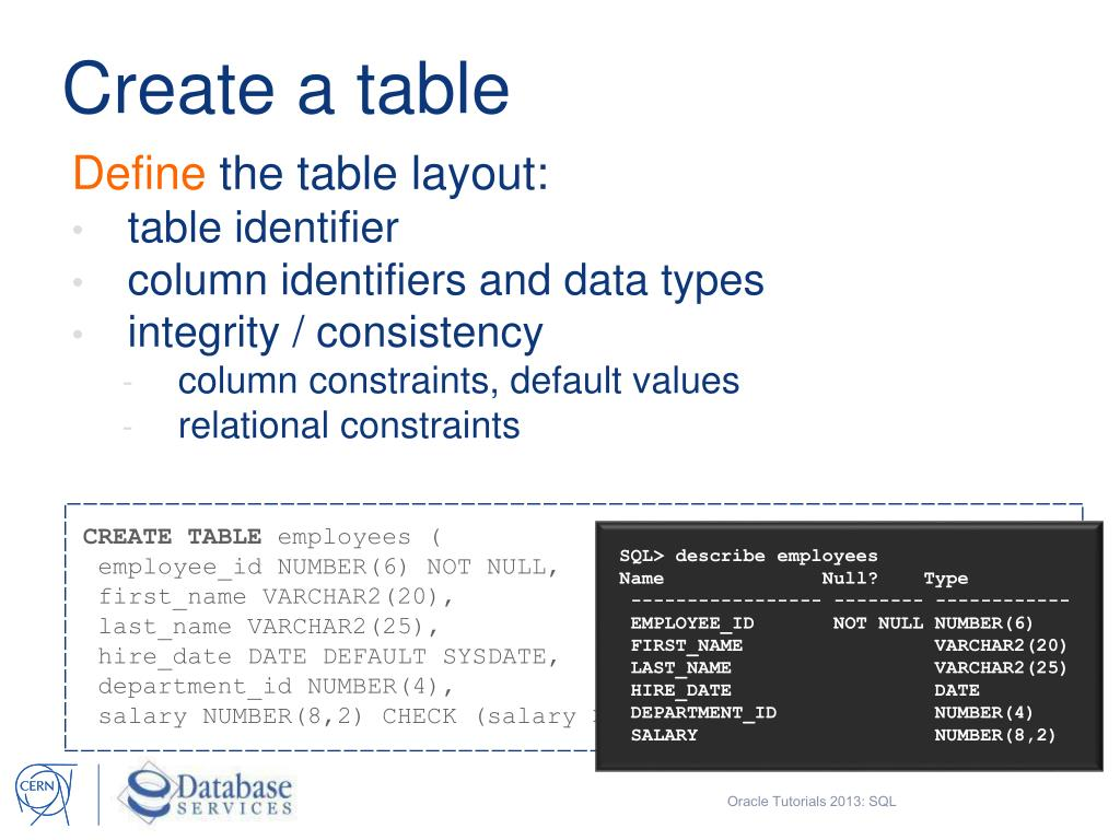 PPT - Oracle Tutorials 2013 SQL Structured Query Language