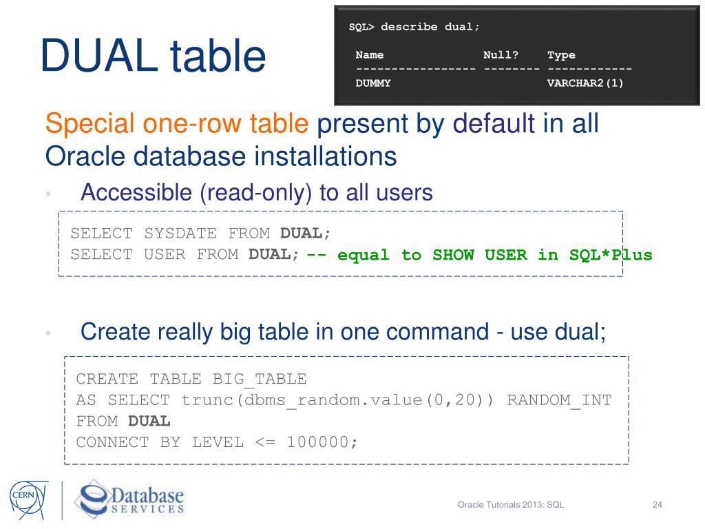 PPT - Oracle Tutorials 2013 SQL Structured Query Language Eva