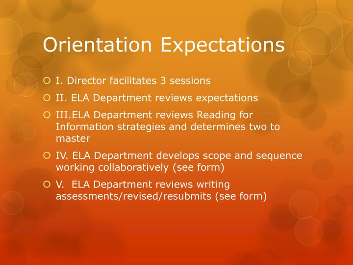 Orientation Expectations