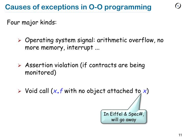 Causes of exceptions in O-O programming