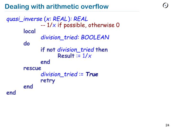 Dealing with arithmetic overflow