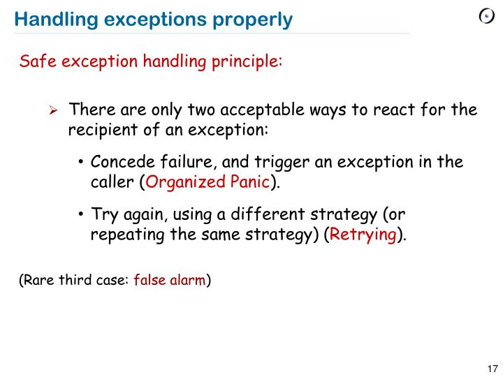 Handling exceptions properly