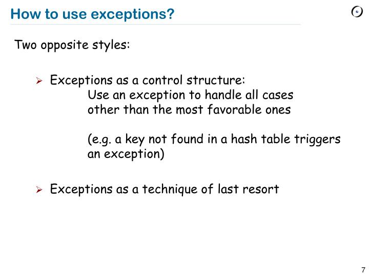 How to use exceptions?
