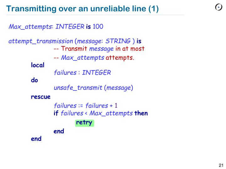 Transmitting over an unreliable line (1)
