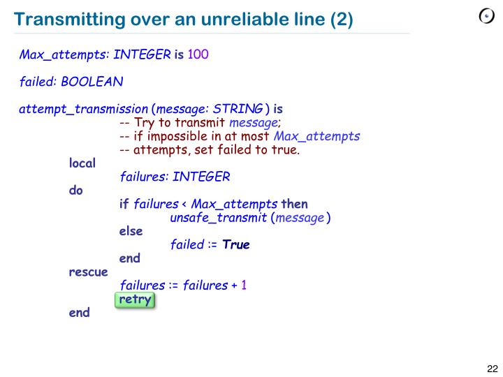 Transmitting over an unreliable line (2)