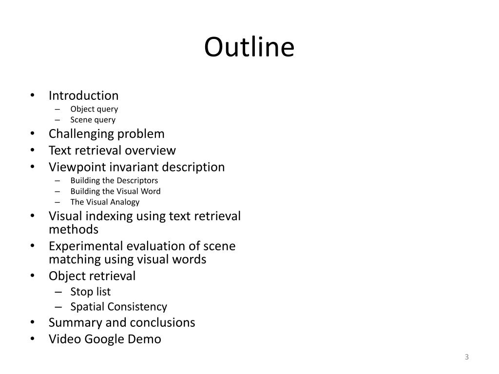 PPT - Video Google: A Text Retrieval Approach to Object Matching in