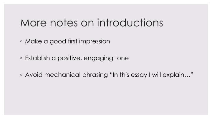 More notes on introductions