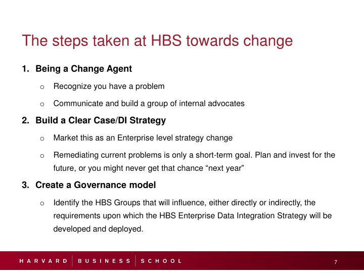 The steps taken at HBS towards change