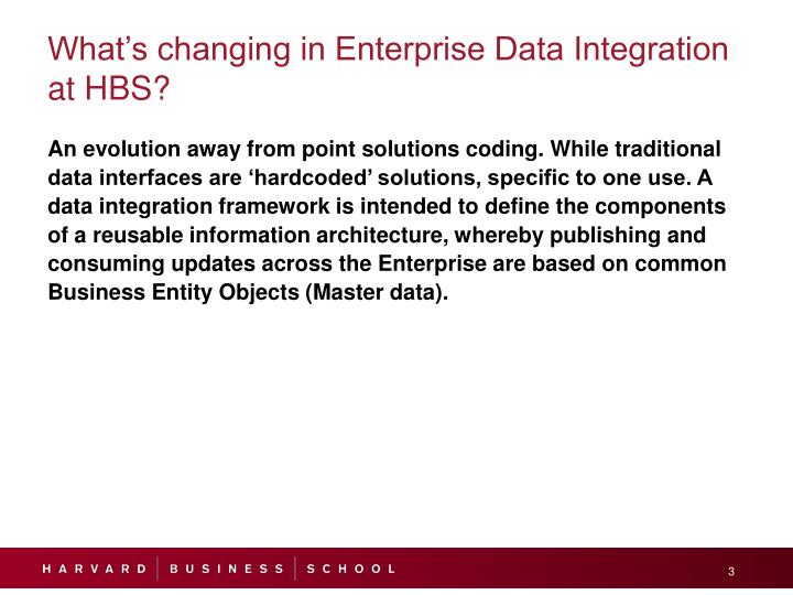 What s changing in enterprise data integration at hbs