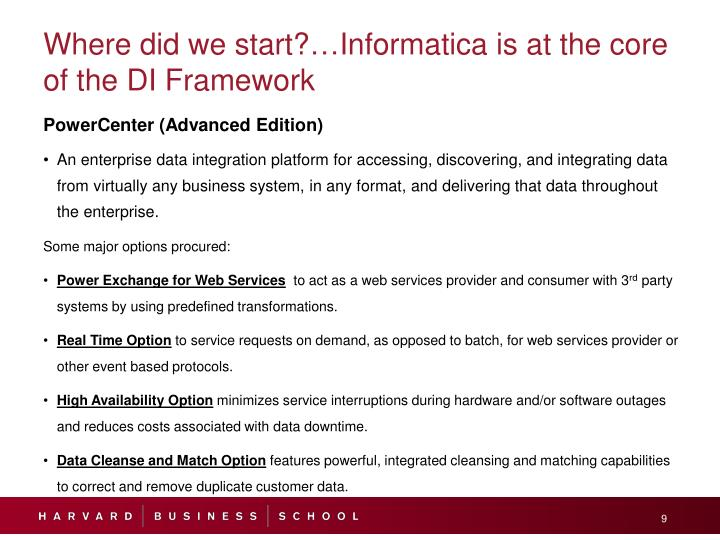 Where did we start?…Informatica is at the core of the DI Framework