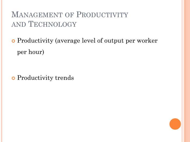 Management of Productivity
