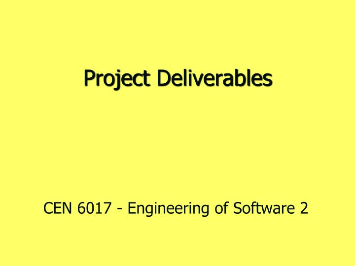project deliverables n.
