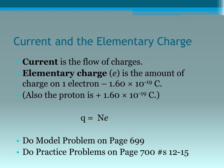 Current and the Elementary Charge