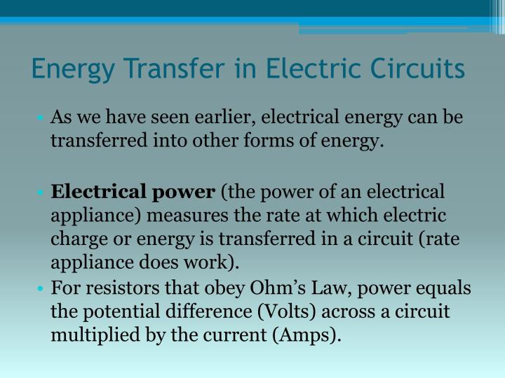 Energy Transfer in Electric Circuits