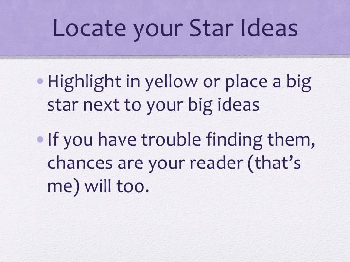 Locate your Star Ideas