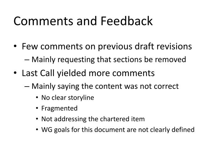 Comments and feedback