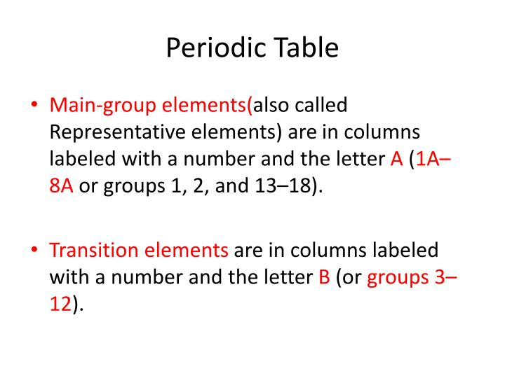 Ppt the periodic table amp classification of elements powerpoint periodic table main group elementsalsocalledrepresentative urtaz Images