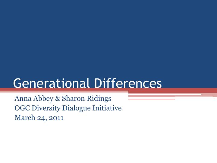 generationaldifferences Purpose the purpose of this study was to examine the differences across three generational cohorts (millennials, generation x, and baby boomers) on dimensions of the work ethic construct using the multidimensional work ethic profile (mwep.