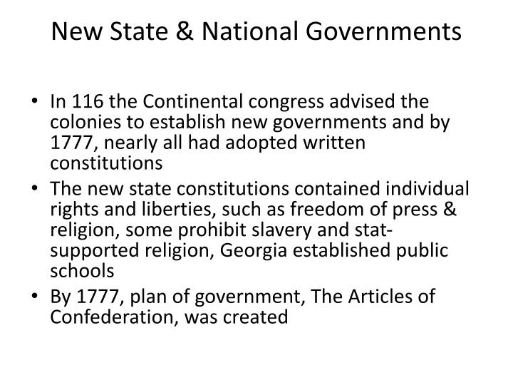 New State & National Governments