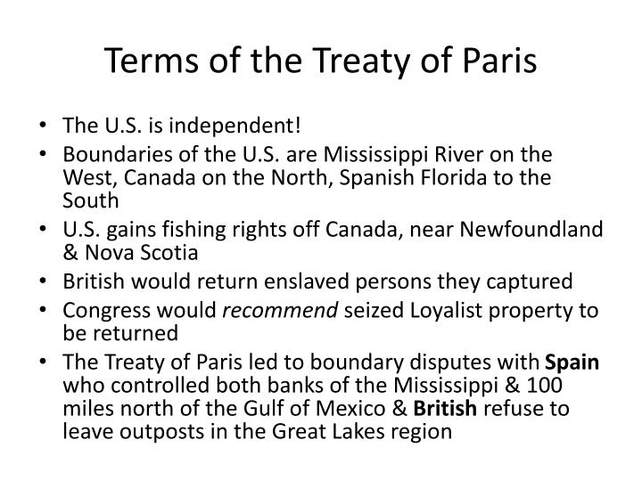 Terms of the treaty of paris