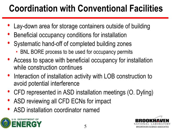 Coordination with Conventional Facilities