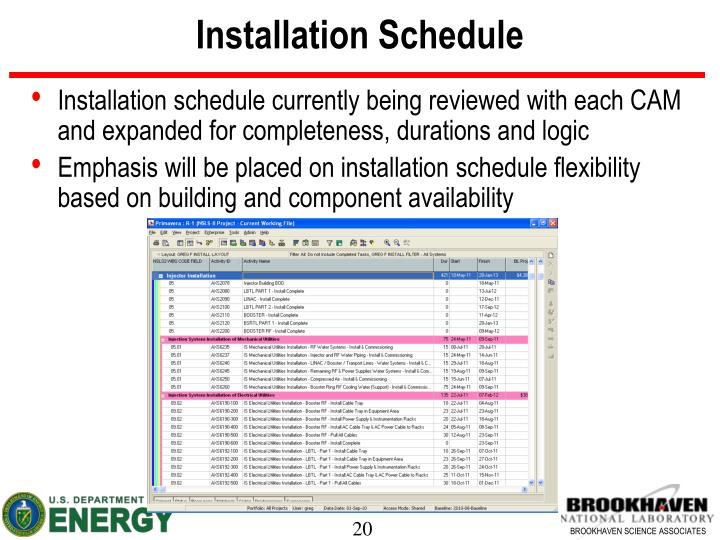 Installation Schedule