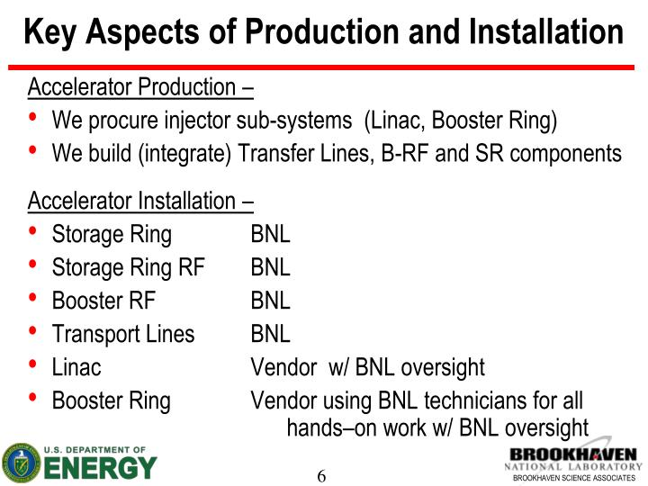 Key Aspects of Production and Installation