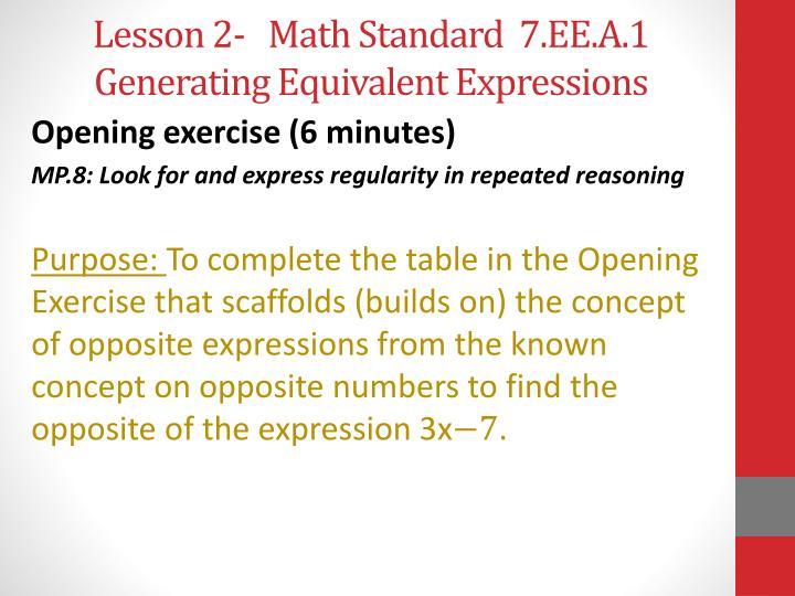 Lesson 2-   Math Standard  7.EE.A.1