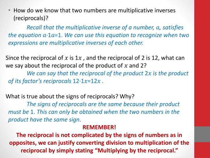How do we know that two numbers are multiplicative inverses (reciprocals)?