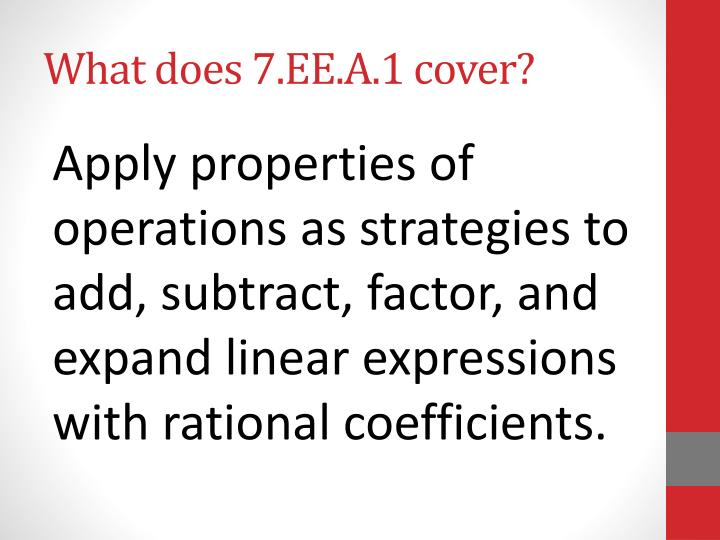What does 7 ee a 1 cover