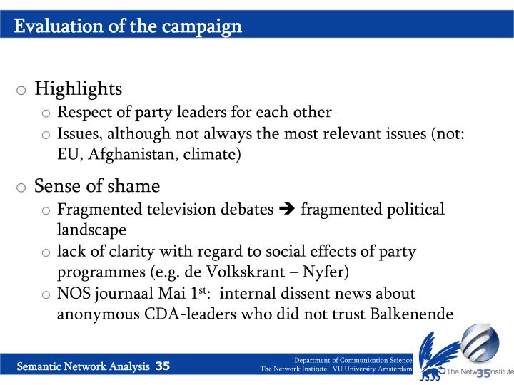 Evaluation of the campaign