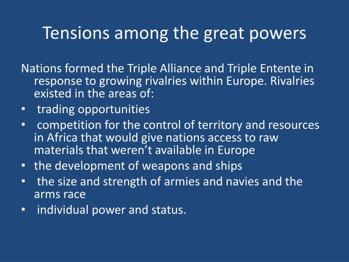 Tensions among the great powers