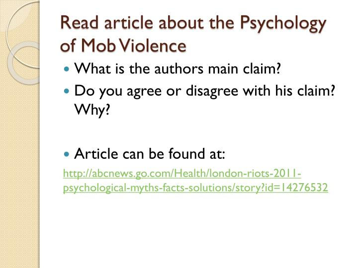 Read article about the Psychology of Mob Violence