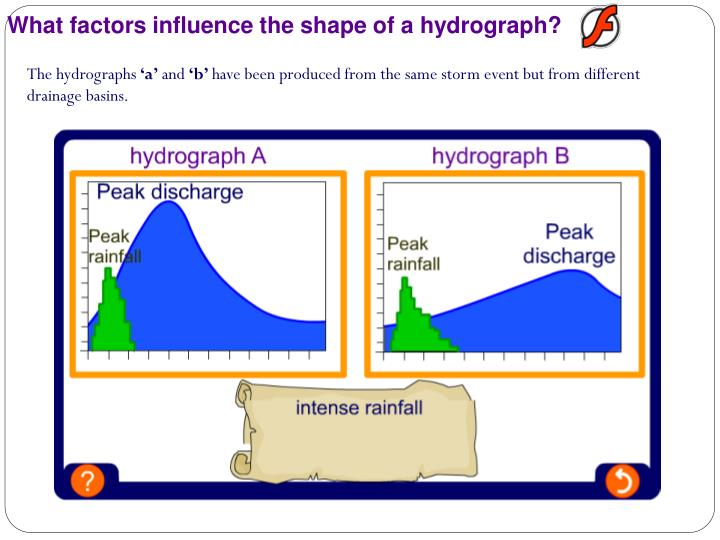 What factors influence the shape of a hydrograph?