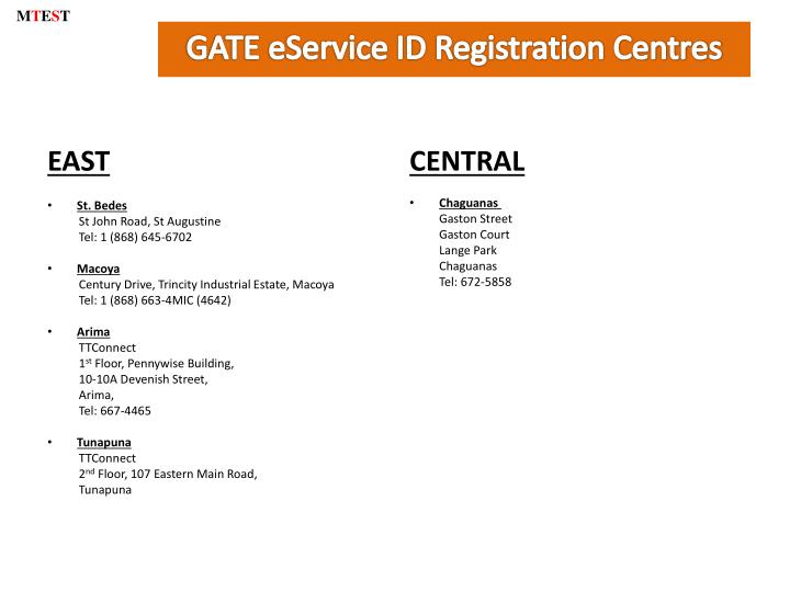 Gate eservice id registration centres