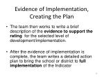 evidence of implementation creating the plan