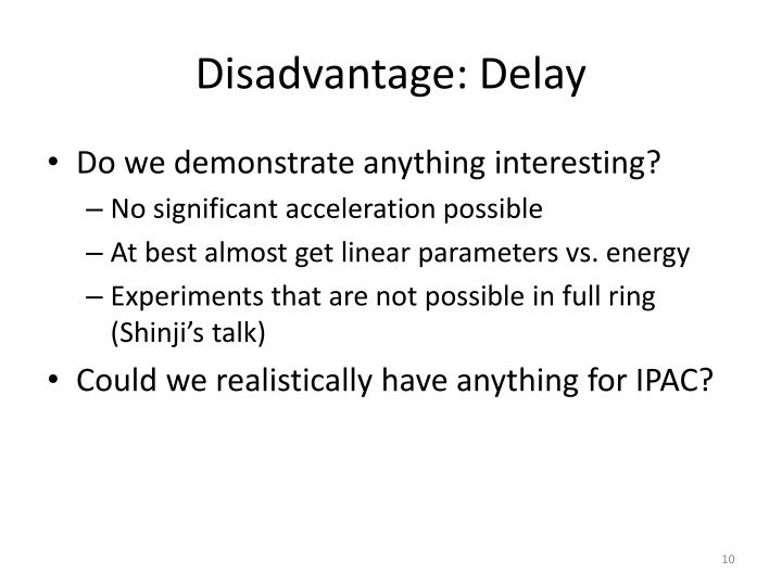 Disadvantage: Delay